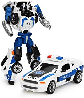 Transformers Car Toy, Children's Toy Alloy Deformation Toy Five-in-one Donkey Kong Fit Genuine Model Car Robot Motorcycle Police Car Set Toy, Deformed Car Children's Toy, Car Robot Model - Police Car