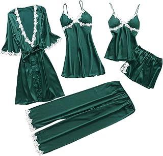 Conjunto Pijamas Mujer Verano Batas de Seda 5 Piezas Sets Camisola de Tiras Pantalones y Calzoncillos Kimono Cuello V Larga Chaleco de Encaje Ropa de Dormir Vestido de Cama