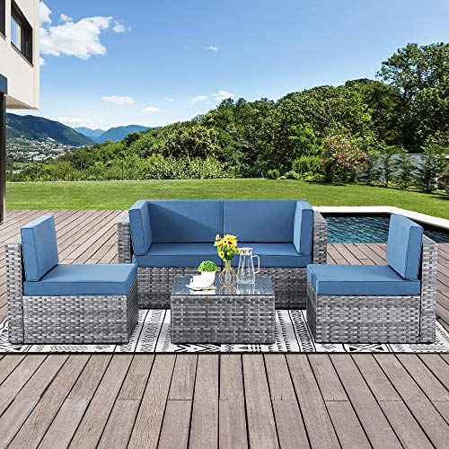 Walsunny Outdoor Silver Gray Rattan Sectional Sofa- Patio Wicker Furniture Set Conversation Sets with Tea Table&Washable Couch Cushions(Aegean Blue)