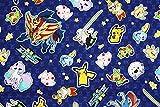 キャラクター生地 ポケットモンスター(ポケモン)ピカチュウ ザマゼンタ ザシアン ネギガナイト メッソン ヒバニー サルノリ ポニータ ウールー ワンパチ マホイップ イーブイ コットン100% シーチング Pocket Monster Pokemon 45cm X 110cm