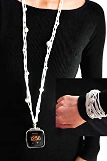 UseeTech Necklace Compatible with Fitbit Versa Smartwatch Band New White Pearl Double Loop Two Way Bracelet Strap Neckband Handmade Replacement Accessories Adaptor Wearable Technology Adaptor Wearable