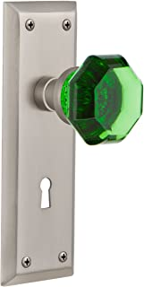 Nostalgic Warehouse 725814 New York Plate with Keyhole Privacy Waldorf Emerald Door Knob in Satin Nickel, 2.375