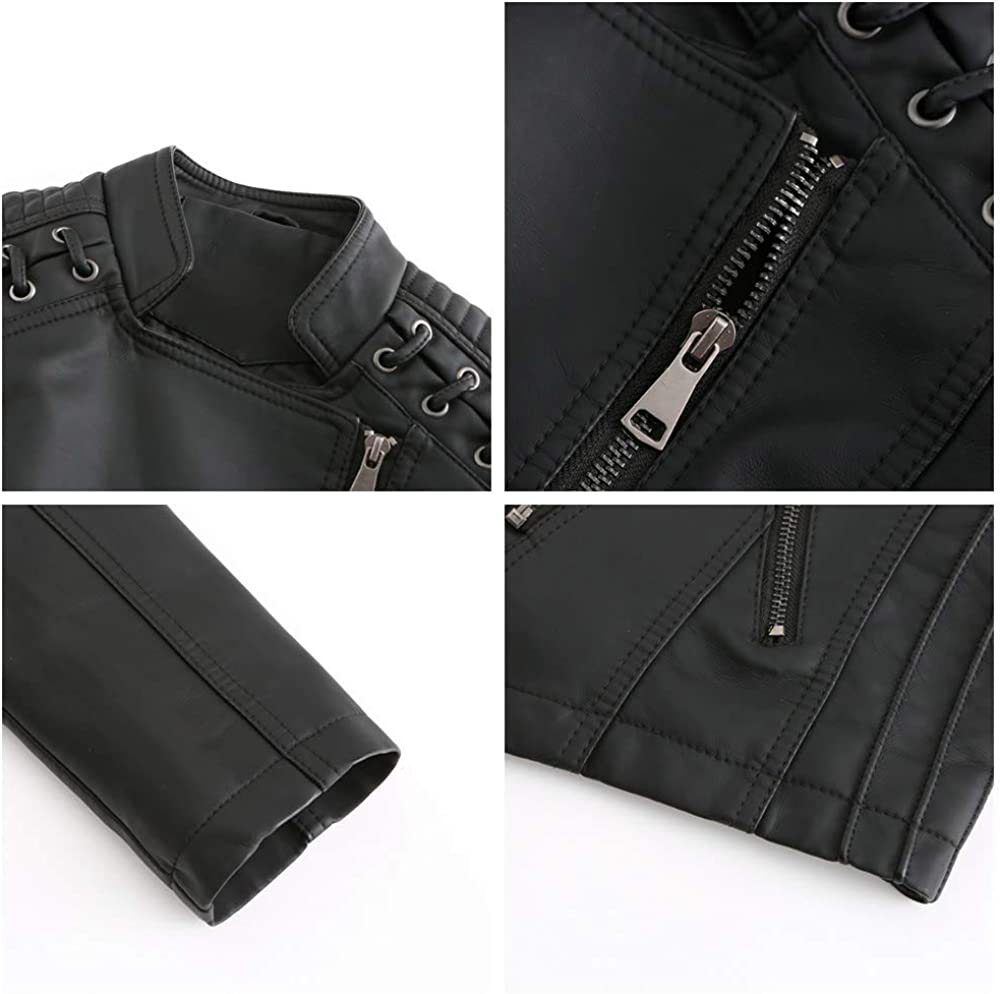 Aodrusa Womens Faux Leather Short Moto Jackets, Junior Zip Up Motorcycle PU Biker Outwear Bandage Coat