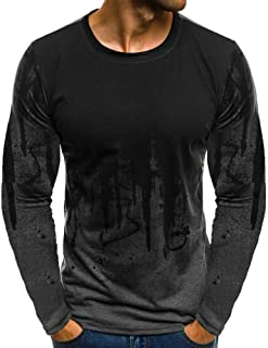 POQOQ T Shirts Mens Gradient Color Casual Slim Fit Long Sleeve Beefy Muscle