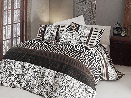 LaModaHome - Juego de Funda de Edredón para Dormitorio de 2 Piezas, 65% Algodón, 35% poliéster, Funda de Edredón Individual, Diseño de Cebra de Leopardo, Color Marrón, Diseño de Safari Salvaje