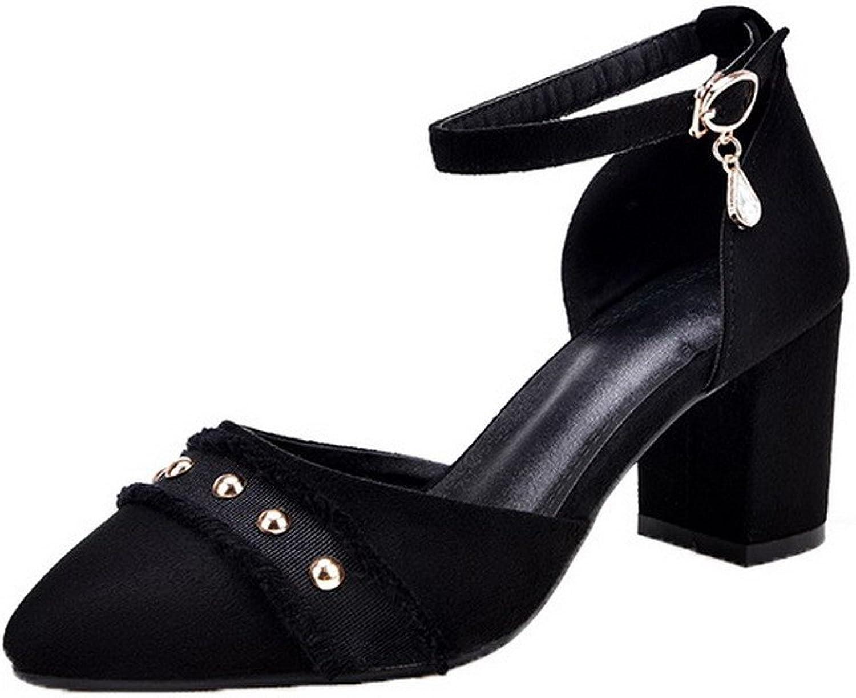 AllhqFashion Women's Kitten-Heels Buckle Solid Sandals