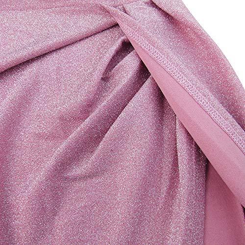 Mujer Lentejuelas Vestido Noche Falda Fuera de Hombro Cintura Alta División Lápiz sin Tirantes Ceremonia Boda Cóctel Noche Dress (Rosado, XL)