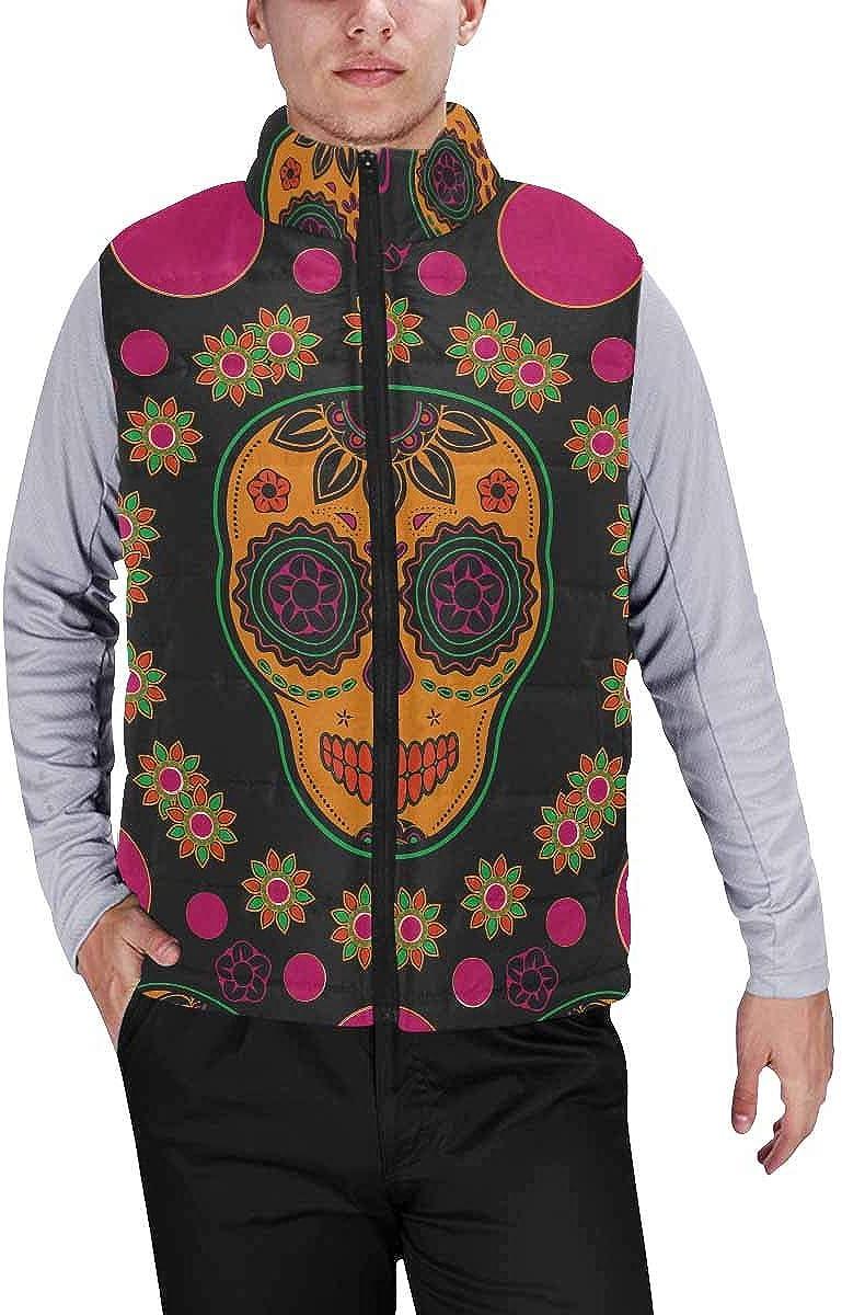 InterestPrint Men's Winter Full-Zip Outwear Padded Vest Coats Sugar Skull Pattern XS
