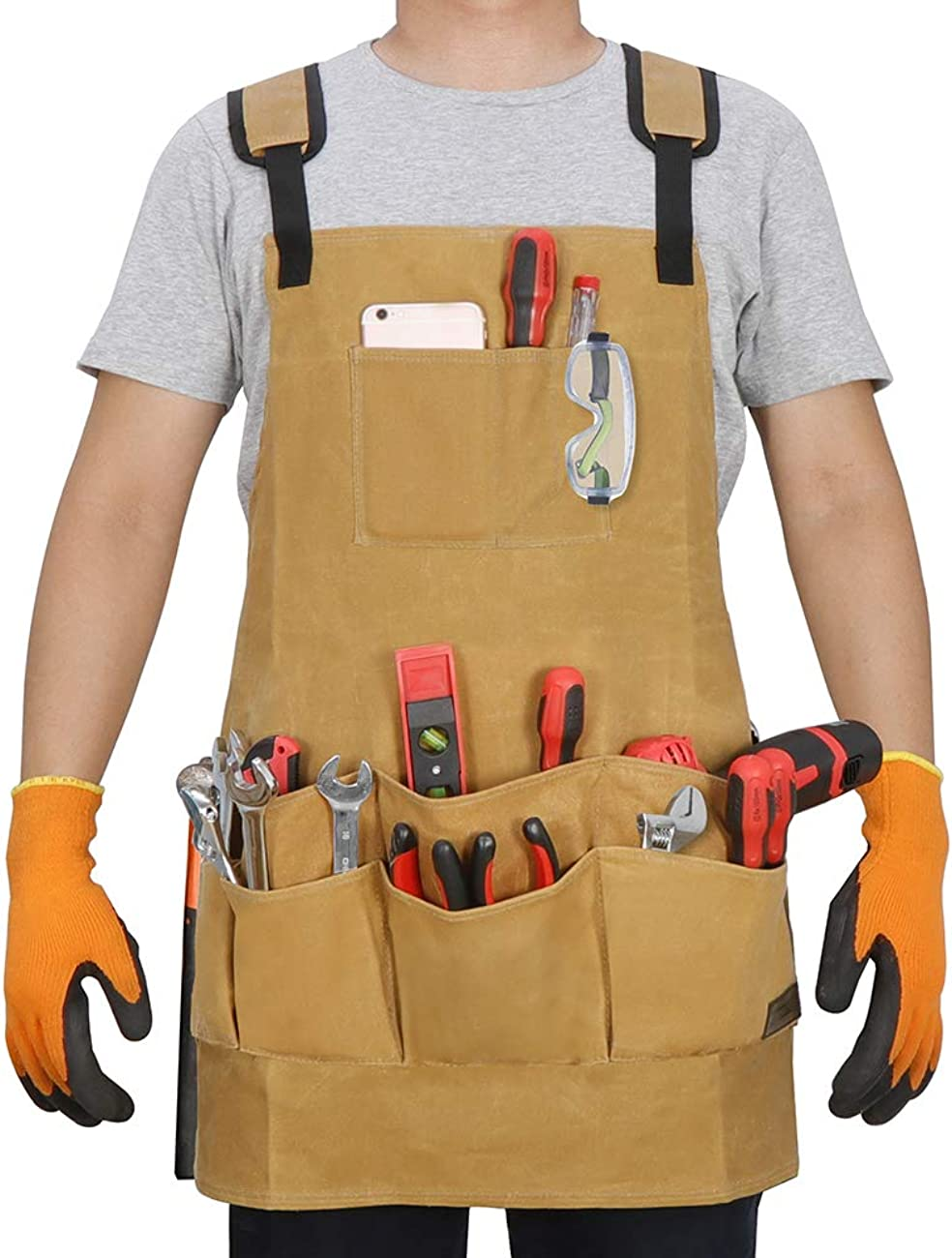 SAVWAYTOOL Work Apron with Deeper Apr Tucson Mall Utility Indianapolis Mall for Tools Pockets