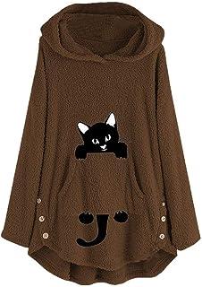 ESAILQ-Capa Sudadera con Capucha y Estampado de Gato Bordado para Mujer Talla Grande Sudadera con Capucha Top Blusa