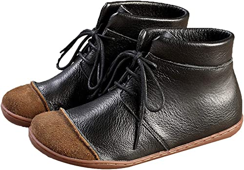 ADEMI ADEMI Fonctionnant Chaussures Plates Sauvages Ots Cuir à Lacets Chaussures Bottines  profitez de 50% de réduction