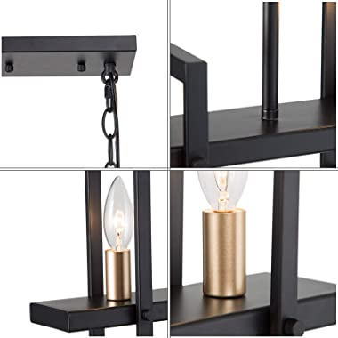 "Modern Farmhouse Chandelier, 5-Light Gold Chandelier for Dining Room, 32"" Island Lights for Kitchen in Matt Black Finish"