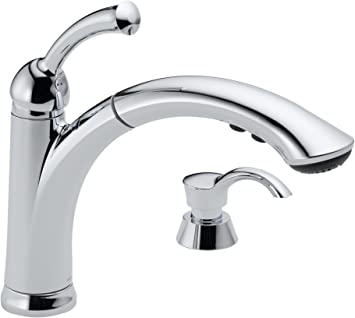Delta 16926 Sssd Dst Lewiston Single Handle Pull Out Kitchen Faucet With Soap Dispenser Stainless Touch On Kitchen Sink Faucets Amazon Com