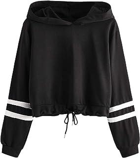 SweatyRocks Women's Long Sleeve Drawstring Hem Hoodie Crop Top Pullover Sweatshirt