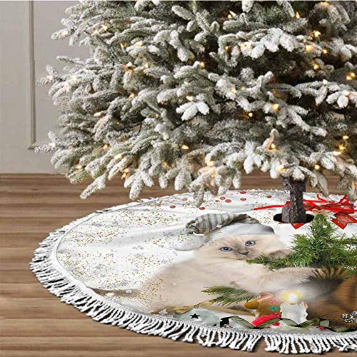 Christmas Tree Skirt, 36 inches Christmas Decoration Fringed Lace (Christmas Theme) for Xmas Holiday Party Decorations
