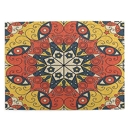NANITHG 500 Pièces Puzzles Puzzles Modèle de Style de Tapis de mosaïque compliqué Intemporel de Culture Traditionnelle Classique Intellectuels Éducatifs Puzzles de Canaux pour Adultes, Adolescents et