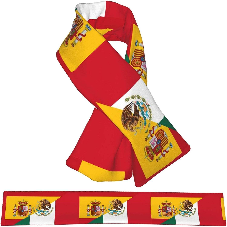 Winter Scarfs Spanish Mexican Flag Scarves Wraps Neck Warmer Flannel Winter Cross Tie Scarves