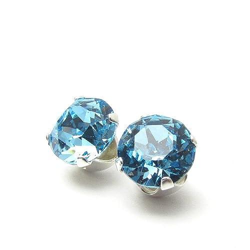 8e72f8742 925 Sterling Silver Stud Earrings set with Aqua blue Swarovski Crystal  Stones. Gift Box.