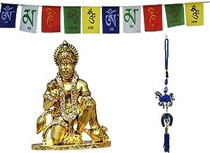 Odishabazaar Golden Hanuman Car Idol for car Dashboard Pooja puja, Statues for Decoration + Horse with Naal Hanging