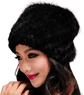 Women's Knitted Fur Hat for Winter Warm Fur Beanie Hat with Mink Fur