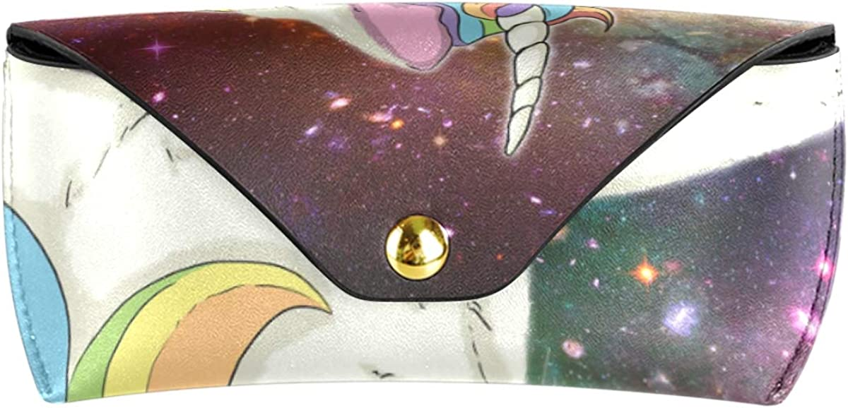 Portable PU Leather gift Sunglasses Case Eyeglasses Pouch Goggles Bag Multiuse Starry Sky Unicorn