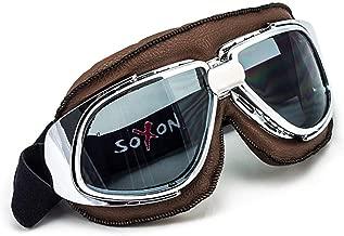 avec housse en plastique et lunettes de pilote incluses Moto Helmets Set D22/ bol /Casque de moto Vespa Bobber style vintage