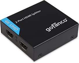 gofanco 4K HDMI Splitter 1x2 Port HDMI to HDMI Signal Distributor with 4 EDID Modes, Supports up to Ultra HD 4K @30Hz,3D, HDCP, 10.2 Gbps, 1 in 2 Out, 1 to 2 (Splitter2P)