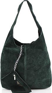 AMBRA Moda Damen Ledertasche Shopper Wildleder Handtasche Schultertasche Beuteltasche WL818