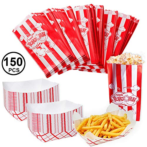 Movie Party Supplies - 150 Pc Bulk Set - 100 Popcorn Bags & 50 Paper Food Trays - Concession Stand Supplies - Circus Party by Tigerdoe