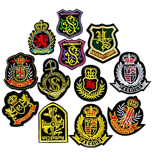 AGFXN - jiajutao 12 Pcs Iron On Patches, Adhesive on the back Embroidered Appliques Decoration & Repair for Clothing, Backpacks, Jeans, Caps, Shoes & More