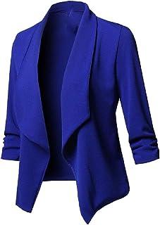 RkBaoye Womens Cardigan Long Sleeve Solid Trim-Fit Open Blazer Jacket Coat
