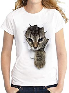 Beloved Women's Round Neck 3D Print Summer Cat Fashion Short Sleeve Top Blouse T Shirt 4 Large