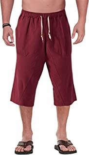 red three quarter length trousers