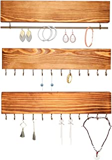 MINCORD 3 Piece Jewelry Organizer Wall Mounted, Rustic Wood Hanging Jewelry Organizer Holder with 24 Hooks and Gold Bracelet Rod, for Necklaces, Rings, Earrings, Watches and Bracelets