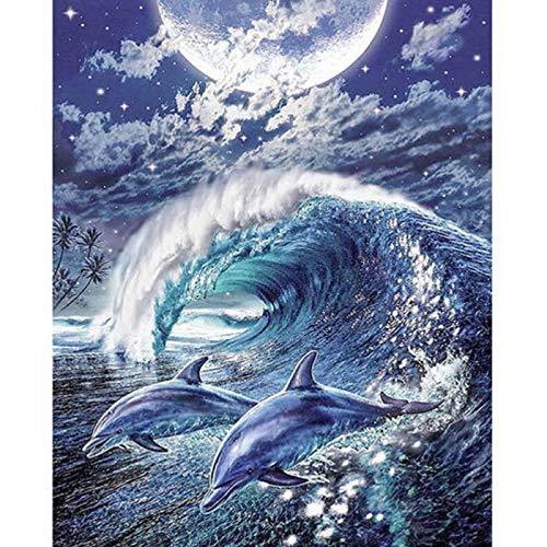 WLYUE Bilder Poster Kunstdrucke Wandbilder Fotografien Gemälde Wandtattoos Zeichnungen Dolphin dekorative Malerei,Malen nach Zahlen DIY Ölgemälde für Erwachsene anfänger Dekoration
