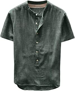 Men Short Sleeve Solid Fashion Blouse Tops, Male Summer Button Casual Linen and Cotton Top Blouse Shirt Tunic Tops