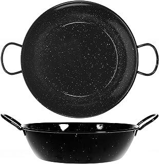 La Valenciana 26 cm Acero esmaltado sartén con 2 Asas, Negro