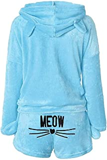 Bofo Women 2pcs Track Suit Outfits Cat Pajamas Suit Bathrobe Coral Fleece Hoodie Shorts Sleepwear