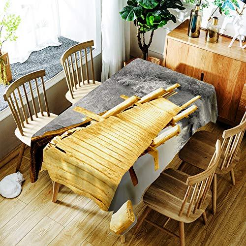 Eettafel Doek Gouden Houten Brug Tafelkleed Beschermhoes Stofdicht Doek Home Mode Wegwerp Wasvrij Oliebestendig Anti-verbranding Rechthoek 55X78 inch