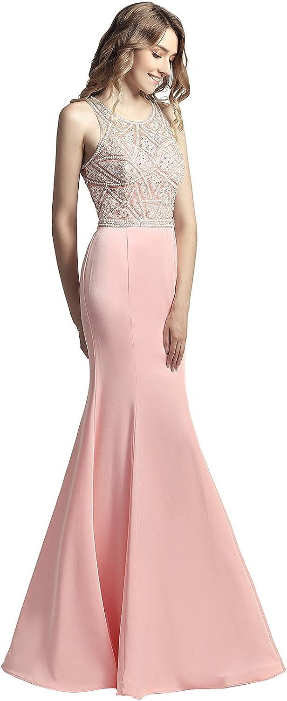 Sarahbridal Womens Mermaid Prom Dresses Long Satin Beaded Bodice Evening Ball Gowns SLX420