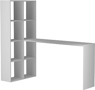 BRV Móveis MDP/Melamine Finishing Computer Desk and Shelf, BE 38-06, White, H135 x W149 x D69 cm