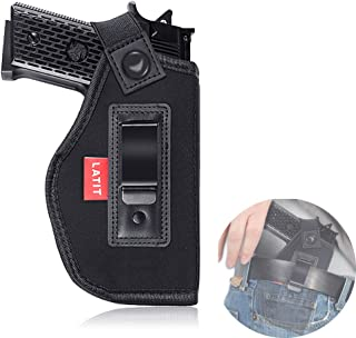 LATIT Gun Holster | IWB Concealed Carry Holster | Inside Waistband Belst Holster | Fits S&W M&P Shield/Springfield XD XDS/Ruger LC9 /Glock 26 27 29 30 33 42 43 and All Similar Handguns