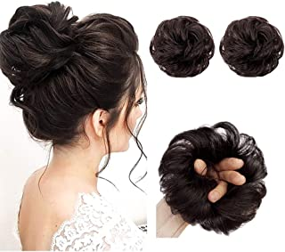 AISI QUEENS 100% Human Hair Bun Extensions 2PCS Curly Wavy Messy Bun Hair Extension Scrunchies Elegant Chignons Wedding Hair Piece for Women and Kids(Color:Natural color)