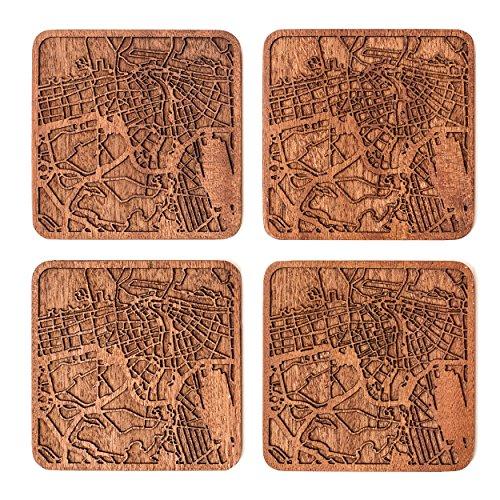 Dubai Untersetzer mit Landkarte aus Sapeli-Holz, 4 Stück, mit Stadtkarte, mehrere Stadt optional, handgefertigt