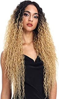 Joedir Lace Front Wigs Ombre Blonde 28'' Long Small Curly Wavy Synthetic Wigs For Black Women 130% Density Wigs(TTPN4/270A/24F)