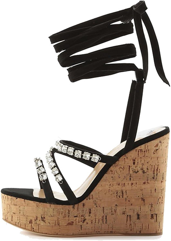 Women's Platform Wood Wedge shoes Girls Fashion With Diamond Sandals