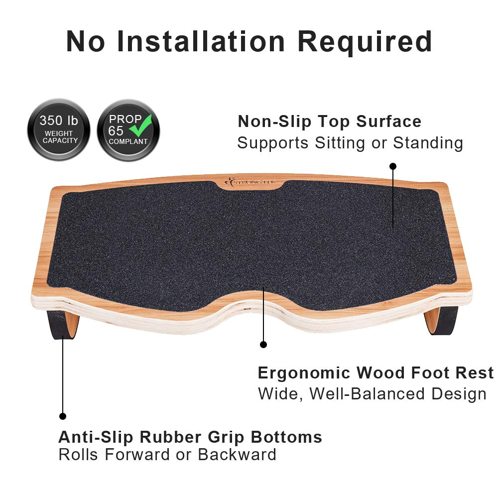 Strongtek Foot Rest Under Desk Rocking Step Stool Rocker Balance Board Natural Wood Non Slip Ergonomic Pressure Relief For Proper Posture Support Home Office And Pc Use 350lb Capacity Amazon Sg Office