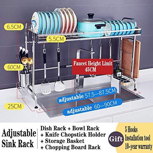 ZHTY Über der Spüle Dish Wäscheständer Abtropffläche für Küchenspüle Edelstahl Über der Spüle Regal Lagerregal Verstellbare Länge, E