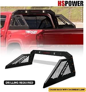 HS Power Adjustable Black Chase Rack Roll Bar with 3rd Brake Lamp & LED Bars + Amber Lamps for Pickup Truck GCD