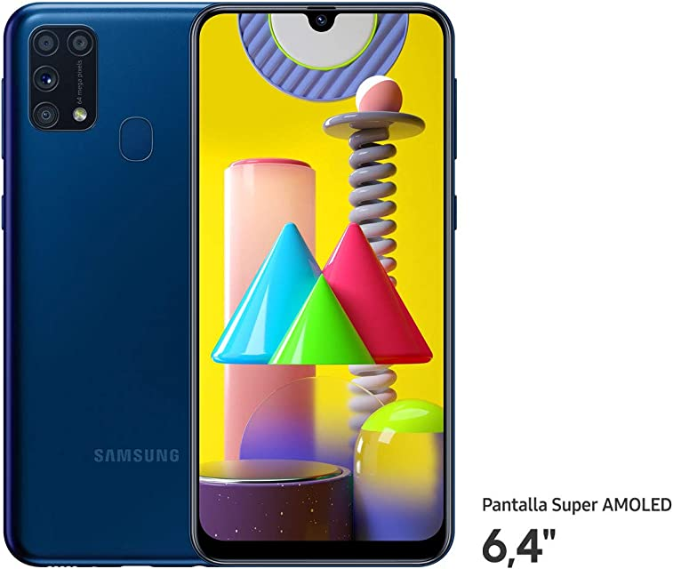 Samsung Galaxy M31 - Smartphone Dual SIM Pantalla de 6.4 sAMOLED FHD+ Cámara 64 MP 6 GB RAM 64 GB ROM Ampliables Batería 6000 mAh Android Versión Española Color Azul